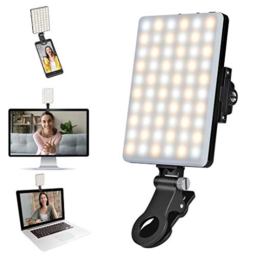 Video Conference Lighting, Webcam Lighting for Remote Working, Zoom Lighting for Laptop/Computer, Zoom Calls, Live Streaming, Self Broadcasting, Video Light for Zoom Meeting with Sturdy Clip