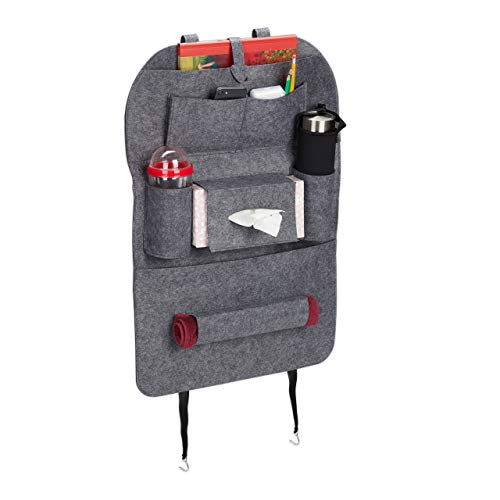 Relaxdays Organizador de asiento de coche, gran bolsillo trasero de fieltro para niños, 8 compartimentos, protector de respaldo XL para coche, color gris