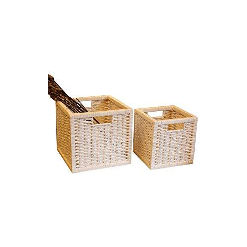 JIAJBG Cesta de almacenamiento de desechos de oficina para aperitivos y libros, cesta de juguete para niños, dos juegos de cesta de Navidad hecha a mano para decoración del hogar