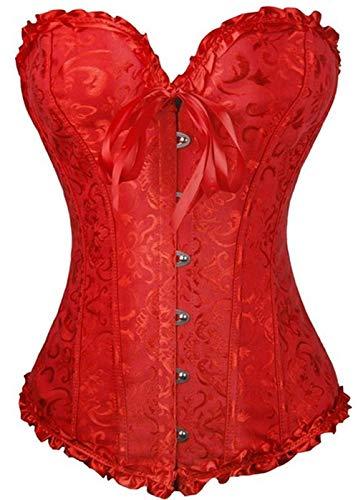 PhilaeEC Women's Plus Size Bridal Lingerie Lace up Satin Boned Corset + G-string (Red, S) L