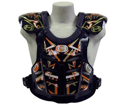 HRP Flak Jak IMS RC Motocross Chest Protector Black Orange Gold Roost Deflector (Large (145-190 lbs))