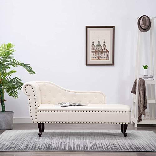 Tidyard Chesterfield Kunstleder mit Cremeweiß und Nietenbesatz Chaiselongue Relaxliege 168 x 58 x 77 cm