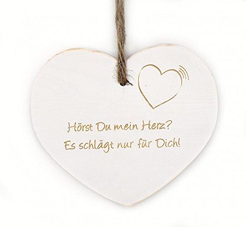 TEMPELWELT Deko Anhänger Herz Herzchen aus Holz weiß Shabby Chic, 18x16x2cm zum Hängen, mit Romantik Spruch Liebesspruch Liebeserklärung Text Gravur