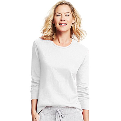 Hanes Women's Long Sleeve tee, White, Medium