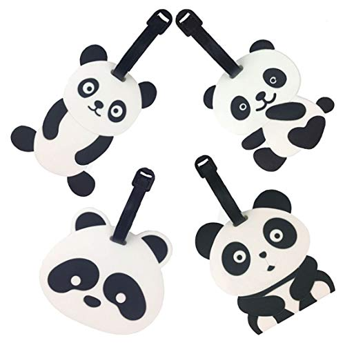 Travel Luggage Tags ,Emoji Panda Suitcase Travel ID Label Tags Holders,PVC Identifier Label Holders for Backpack (4 Pack Panda)