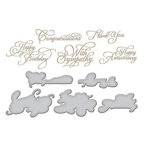 Spellbinders Glimmer Hot Foil Plate-Elegant Occasion Sentiments, Multi, grande 8,8 x 5,1 cm