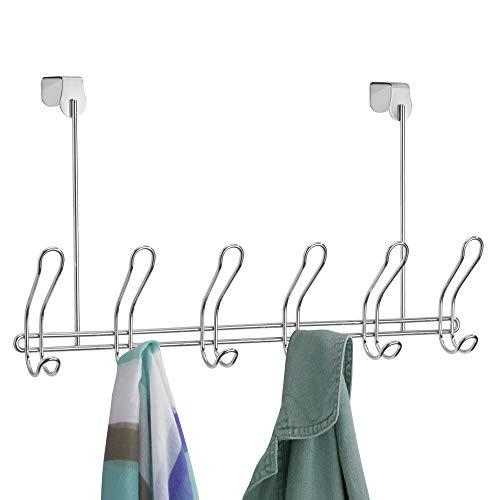 iDesign Classico Garderobenleiste mit 6 Doppelhaken, Türgarderobe für Jacken, Taschen, Schals oder Handtücher aus Metall, silberfarben
