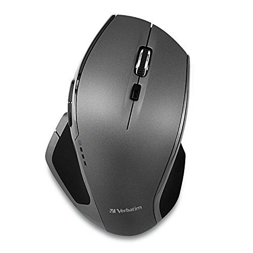 VERBATIM Drahtlose Computermaus - kabellose Maus mit 8 Tasten - Funkmaus für Laptop, Notebook, PC und MAC mit 2,4 GHz-Funktechnologie und blauer LED - Verbindung via Nano-Receiver - Grau