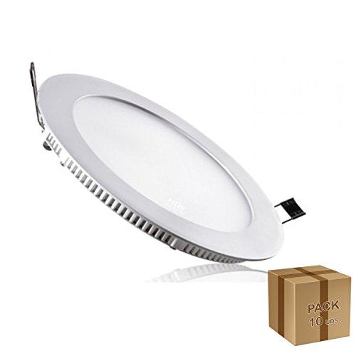 LED VENTA - PACK 10 UNIDADES DOWNLIGHT DE LED EMPOTRABLE EXTRAPLANO 18W REDONDO ARO BLANCO AC85-265v BLANCO FRÍO