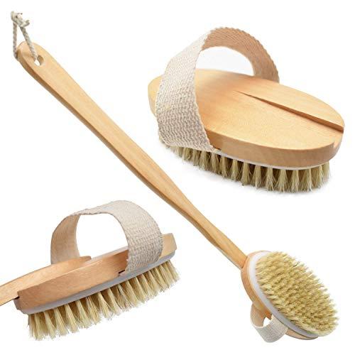 WIKEA Cepillo Espalda - Cepillo de ducha de mano, con mango largo, suave y cómodo, para masaje o exfoliación de piel seca (Versión actualizada)