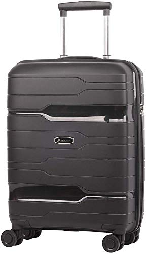 Aerolite 55x40x20 Hard Shell Cabin Case Carry On Hand Luggage Suitcase with TSA Combination Lock, Black, Ryanair easyJet