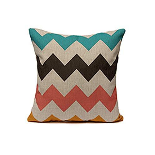 Fundas de cojín de lino suave cuadradas para sala de estar, sofá o cama, fundas de almohada de 45 x 45 cm, E, 18 x 18 inches