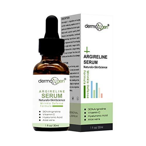 dermaXgen ARGIRELINE 30% + Hyaluronic Acid + Vitamin C + Aloe Vera - PURE ORGANIC Powerful WRINKLE DEFENSE FORMULA/Reduce Sun Spots, Facial AGED Wrinkles 1 oz.