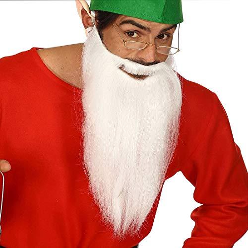 NET TOYS Langer ZZ Top Bart mit Schnurrbart - Weiß - Außergewöhnliches Party-Accessoire Weihnachtsmann - Genau richtig für Weihnachten & Karneval