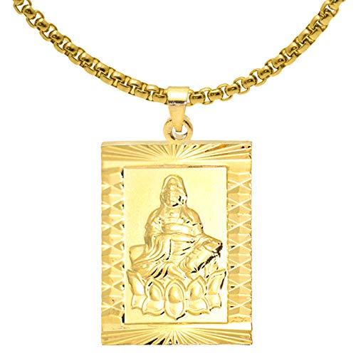 Fusamk Fashion Plated 18K Gold Buddha Dog Tag Pendant Guan Yin Necklace,22' Box Chain