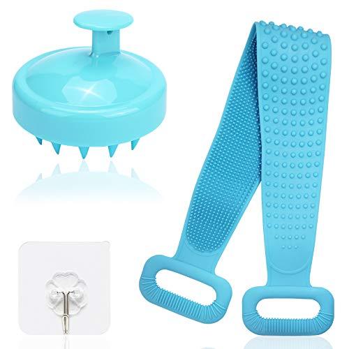 FineGood -Spazzola per il corpo da bagno in silicone con massaggiatore per cuoio capelluto, cintura scrubber in silicone per...