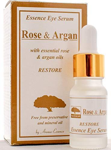 ARGAN und ROSE Augenserum Anti Aging Natürliche Augenringe und Unter Augentaschen Reducer Anti-Falten-Hauttropfen, Paraben und Mineralfrei 10ml
