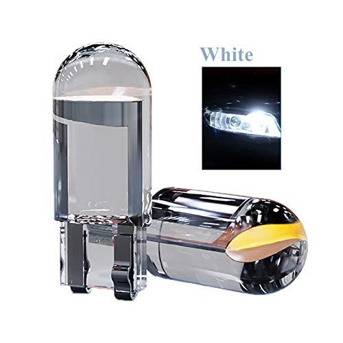 CHENTAOCS 2 unidades/10 bombillas LED W5W 194 T10 para coche, 6000 K, blanco, verde, azul, rojo, cuña, lámpara de matrícula, luz blanca (color: 10 unidades, tamaño: blanco)