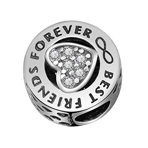 Charms''Best Friends Forever'' - Abalorio de plata de ley 925 con forma de corazón