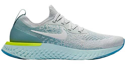 Nike Women's Epic React Flyknit Running Shoes, (Size 9, Platinum/White/Mica Blue)
