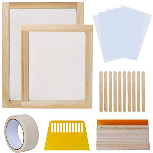 Screen Printing Starter Equipment Kit, 20Pcs Speedball Screen Printing Kit with 2x Wood Printing Frames, Printing Squeegee, Plastic Scraper, Inkjet Transparency Film, Mask Tape and Wood Sticks