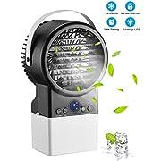 Homitt Updated Mini Luftkühler, Ultra-Leise Mobile Klimageräte, 4 in 1 Air Cooler, Luftbefeuchter, Luftreiniger, Ventilator, Timing-Funktion, mit LED Nachtlicht für Hause, Büro, Schlafzimmer