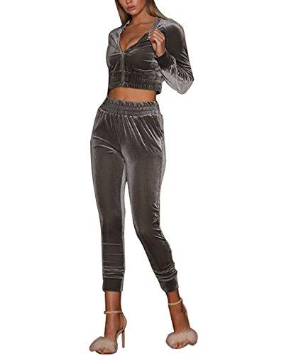 Minetom Damen Bekleidungsset Sport Freizeit Pullover Hose Set Herbst 2 Teilig Samt Bauchweg Jacke Freizeithose Einfarbig Grau DE 44