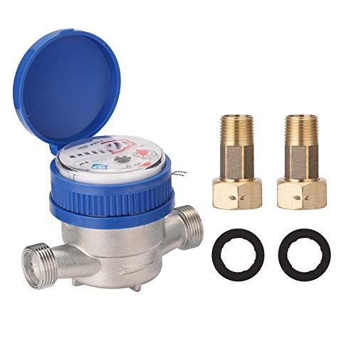 KKmoon Contador de agua 15 mm 1/2 rosca tamaño inteligente contador de grifo contador de agua agua fría manecillas pantalla digital para colocar en el grifo control del consumo de agua