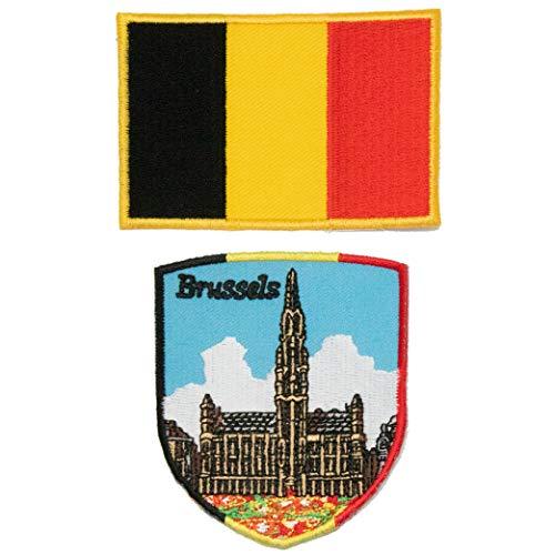 A-ONE 2 Stück – Belgien Brüssels Flagge Schild + Belgien Flagge Tasche Patch + Belgien Emblem, Brugge bestickter Aufnäher, offizielles Abzeichen