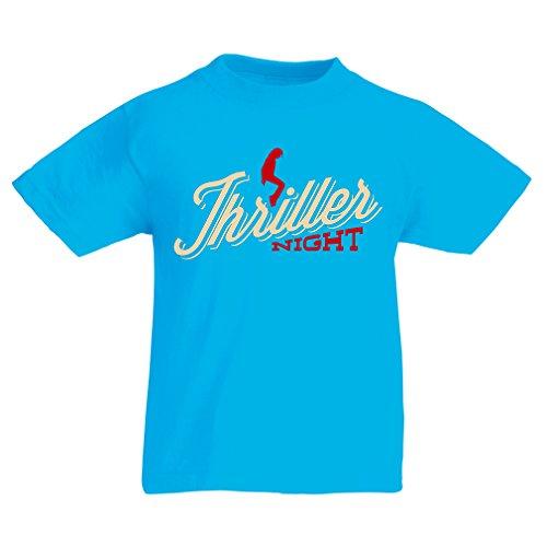 lepni.me Maglietta per Bambini Ragazzi The Thriller Night Dance Anni  90 degli Anni  80, MJ re della Musica Pop (9-11 Years Azzurro Multicolore)