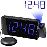 Loud Alarm Clock with Bed Shaker, Projection Alarm Clock for Bedroom, Vibrating Alarm Clock for Heavy Sleeper Hearing Impaired,Ceiling Clock with Large LED Display Dimmer, USB Charger, 12/24 H, DST