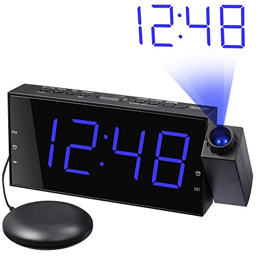 Loud Alarm Clock with Bed Shaker, Projection Alarm Clock for Bedroom, Vibrating Alarm Clock for...