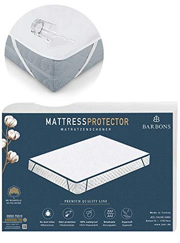 BARBONS Protector de colchón 90 x 200 / 180 x 200 / 140 x 200 cm - Funda impermeable 160 x 200 / 100 x 200 / 60 x 120 / 70 x 140 cm, parte superior: transpirable, 100% algodón (90 x 200 cm)