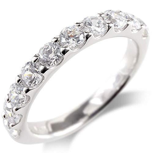 [アトラス]Atrus リング レディース pt900 プラチナ ダイヤモンド SIクラス 1ct ハーフエタニティ 指輪 ピンキーリング 11号