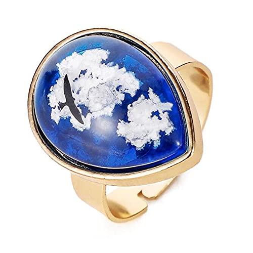 Creativo cielo azul y nubes blancas águila geométrica anillo de mujer ajustable de resina abierta encanto joyería de dedo femenino