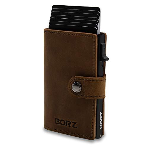NEU: BORZ Prime ® MAXUS 2 Mini Wallet Herren Damen | Slim Wallet Credit Cardholder | Kreditkartenetui | RFID Schutz | Premium Geldbörse | Geldbeutel für Karten & Scheine Echtes Leder