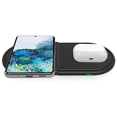 Kdely Cargador Inalambrico Rápido 2 en 1, Carga Inalámbrico Rápida Doble 10W para Samsung S20/S10/Note 20/10 y Qi Wireless Charger 7.5W para iPhone SE 2020/12 Pro Max/11 Pro Max/XS/XR/X/8P/Airpods Pro