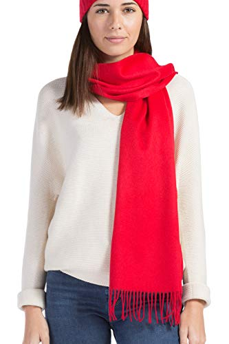 Fishers Finery Women's 100% Pure Cashmere Scarf; Grade A Cashmere (Red)