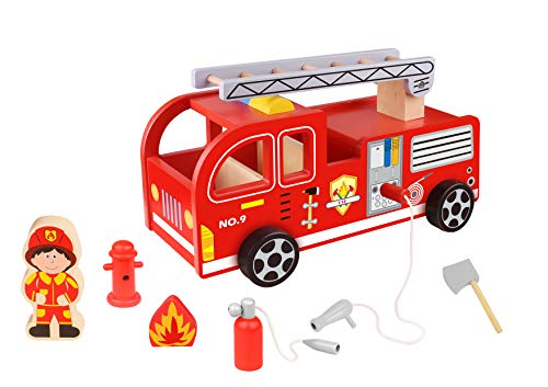 Toy Chest Nyc Wooden Fire Truck with Firefighter Play Figure and Accessories,...