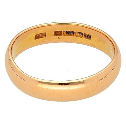 Alianza de boda en forma de D de oro amarillo de 22 quilates (tamaño O 1/2) 4 mm de ancho