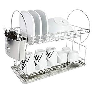 BPT – Escurreplatos de cocina de acero inoxidable con bandeja de goteo