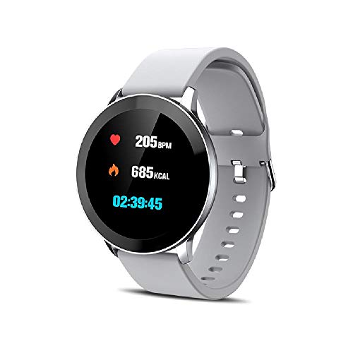 ZHAG Smart Watch Fitness Watch Sports Watch Pedómetro, Presión Arterial Fitness Wristwatch con Pantalla de Color Táctil de 1.3 Pulgadas para Android iOS Men/Mujer,Silver
