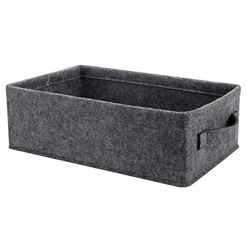 Cesta de almacenamiento mediana rectangular de fieltro, color gris claro, con asas de fieltro para cocina, organizador