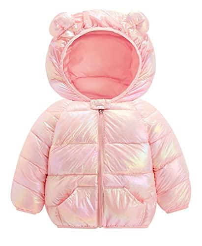 Chaqueta de invierno para bebé, abrigo para niños, chaqueta acolchada con capucha, acolchado cálido, ligero, para niños y niñas, rosa