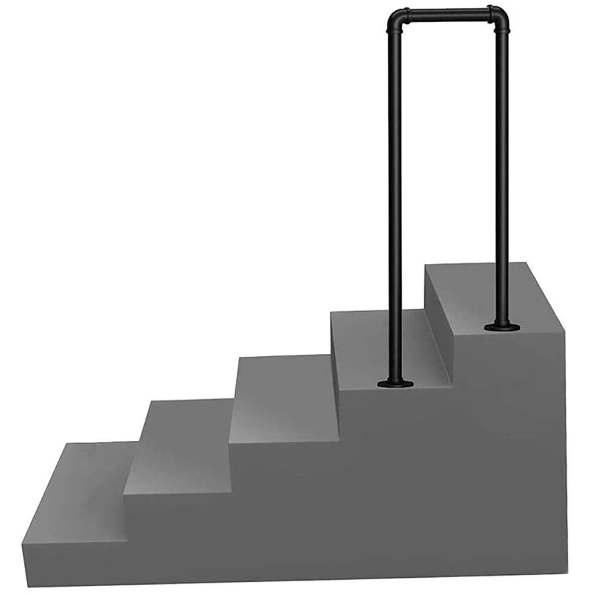 センチメンタルどのくらいの頻度でクールWMMING 2段階移行手すり、1または6のステップインストールキットの手でマットブラック手すり錬鉄階段レールU字型の屋内Railsと階段、手すり、バルコニーのためのアウトドア (Size : 6steps)