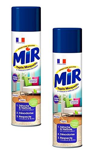 Mir Nettoyant Tapis et Moquettes Spray Mousse - 600 ml - Lot de 2 Spray pour un nettoyage efficace