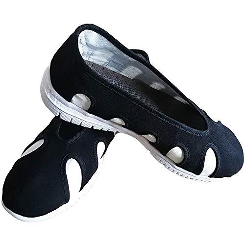 JINFAN Martial Arts Shoes Chinese Monk Buddha Shoes - Wushu Buddhist Kung Fu Tai Chi Shaolin Qi Gong Trainer Wing Chun Slipper Sneaker Footwear with Rubber Sole for Men and Women,Black-44