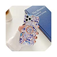 for Samsungギャラクシーノート20ウルトラS20S8 S9S10プラスノート8910プラスソフトIMDシリコンカバー用リングホルダー大理石フラワー電話ケース -C7-S8 Plus