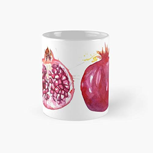 Hand Drawn Watercolor Bright and Juicy Pomegranates Design Classic Mug | Best Gift Funny Coffee Mugs 11 Oz