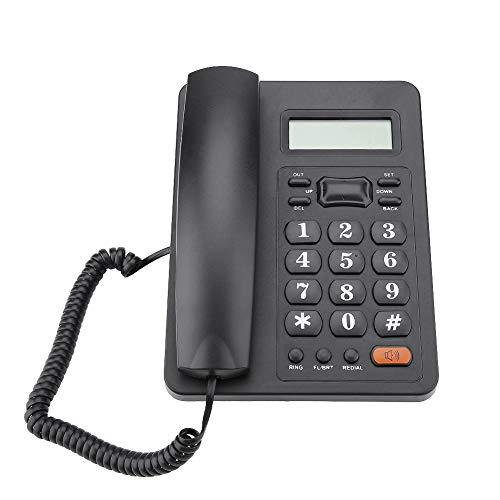 Mugast Telefono Fisso da Tavolo/Parete, Telefono Fisso con Display ID Chiamante per Ufficio/Hotel/Casa, Facile da Installare, Funzione di Ricomposizione/Flash, Nero